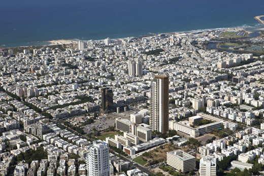 מגדל הגימנסיה תל אביב מבט מהאוויר לכיוון הים
