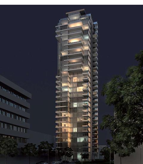 הדמיה של מגדל הגימנסיה בשעות הערב והלילה של תל אביב. מגדל מואר ומרהיב